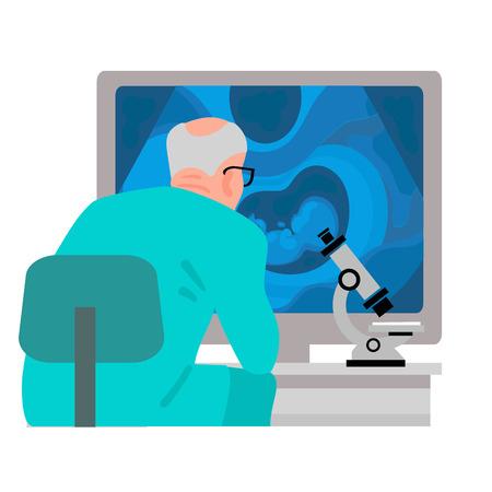 Naukowiec siedzi przy stole z mikroskopem i patrząc na ekran komputera z obrazem USG dziecka w łonie matki Widok z tyłu Cartoon płaskie wektor ilustracja na białym tle.