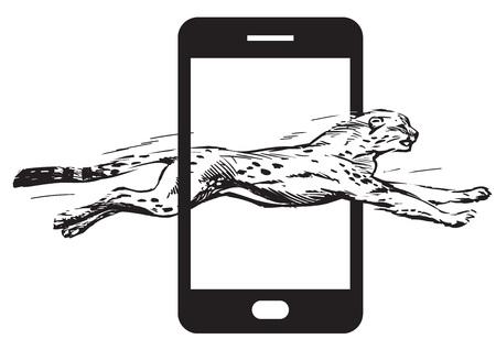 Cheetah jumping through screen of smartfon. Concept of fast internet Vector