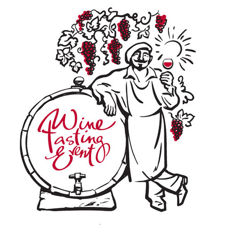Winemaker tasting red wine leaning on barrel in vineyard. Vector Illustration