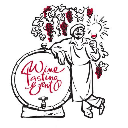 Winemaker tasting red wine leaning on barrel in vineyard. Vector