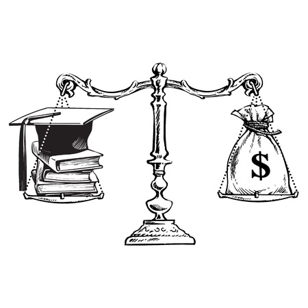 Graduation cap, books and sack of dollars on old scales. Price of education concept. Symbols of knowledge and money on scales. Hand drawn sketch vector illustration isolated on white background. Illustration