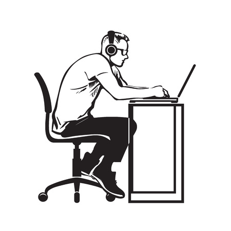 Programmer working at computer. Teenager in headphones sitting stooping at laptop. Hand drawn vector illustration isolated on white background. Illustration