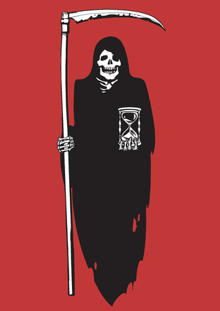 Black and white cartoon Death with scythe and hourglass. Deadline concept. Hand drawn sketch vector illustration isolated on red background.
