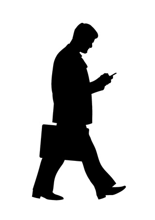 Silhouette of walking businessman with mobile phone. Vector illustration Illustration