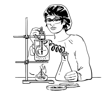 Laboratory assistant working in scientific medical or chemical lab. Sketch of female scientist with test tubes. Hand drawn vector illustration isolated on white background.