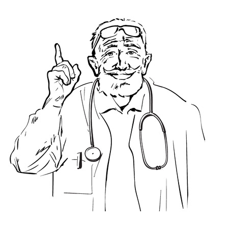 Doctor recommended. Sketch of friendly smiling senior physician talking and pointing finger up.Hand drawn vector illustration isolated on white background. Illustration