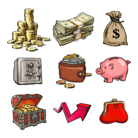 Cartoon collection of money symbols. Safe, chest with treasures, piggy bank, stack of bills, stack of coins, sack of dollars, purse, wallet, rising arrow. Hand drawn vector illustration isolated. Illustration