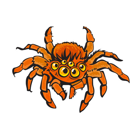Cartoon red gigantic spider. Halloween character. Hand drawn vector illustration in sketch style isolated on white background.