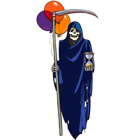 Muerte con reloj de arena, guadaña y globos de colores. Carácter de Halloween. Ilustración de vector dibujado a mano de dibujos animados. Ilustración de vector