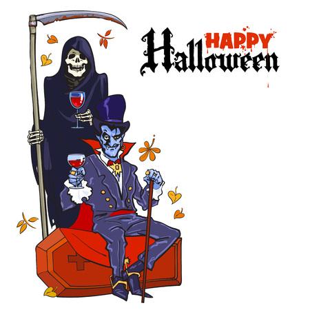 Esqueleto de muerte y vampiro Drácula. Personajes de Halloween en estilo de dibujos animados. Fondo de cartel de Halloween feliz con lugar para el texto. Ilustración de vector dibujado a mano aislado en blanco.