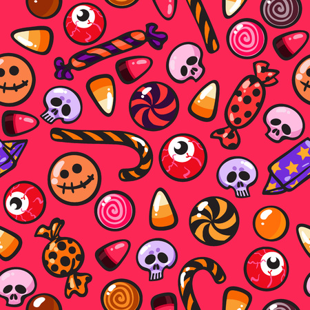 Halloween seamless pattern with cartoon candies in the shape of skulls and eyeballs on the bright red background. For wrapping paper, textile, greeting cards and party Illustration