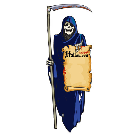 Grim Reaper. Cute laughing skeleton Death with scythe and scroll with text Happy Halloween in cartoon style. Hand drown vector illustration isolated on white background. Vettoriali