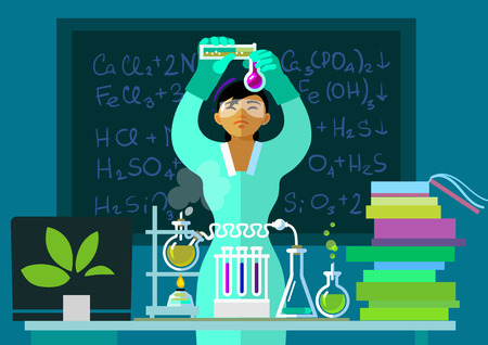 Teacher woman make chemistry experiment in classroom. Asian scientist holding flasks is doing research. Cartoon flat vector illustration. Isolated.