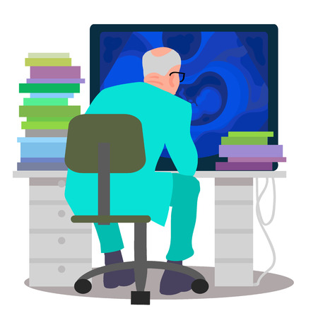 Scientist working on the computer. Doctor ooking at monitor with ultrasound image sitting at the table with a lot of books, back view. Cartoon flat vector illustration isolated on white background. Illustration