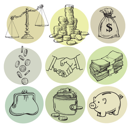Business finance money set on color background. Scales, stack of coins, sack of dollars, credit card, handshake, paper money, purse. wallet, piggy bank Sketch Hand drawn vector illustration isolated.