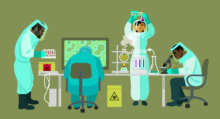 Scientists in protective suits are working with bio hazardous substances. Virologists are carrying out research in the medical laboratory. Cartoon flat vector illustration.