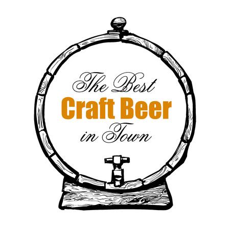 Stara drewniana beczka z tekstem Najlepsze piwo rzemieślnicze w mieście. Utonięcie ręka styl szkic wektor.