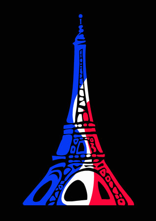 Eiffel Tower in colors of flag of France in decorative style isolated on a black background. Иллюстрация
