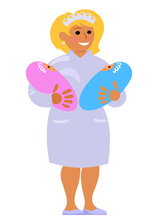 Maternity nurse holding two babies. Smiling midwife carrying twins. Cartoon vector illustration in flat style isolated on white background.