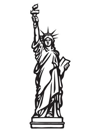 La Statua della Libertà di New York City.Skethc in bianco e nero. Disegnato a mano illustrazione vettoriale isolato su sfondo bianco.Può essere utilizzato come uno stencil