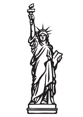 The Statue of Liberty New York city.Black and white skethc.Hand drawn vector illustration isolated on white background.Can be used as a stencil Stockfoto - 110297804