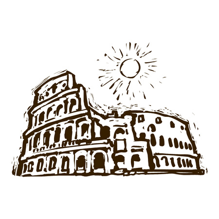 Colosseum in Rome, Italy. Hand drawn sketch vector. Linocut engraving effect.