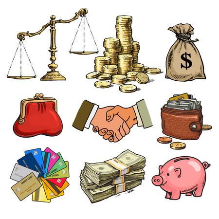 Cartoon-Geschäftsfinanzierung Geldsatz. Waage, Münzstapel, Dollarsack, Kreditkarte, Handschlag, Papiergeld, Geldbörse. Brieftasche, Sparschwein Skizze Handgezeichnete Vektor-Illustration isoliert. Vektorgrafik