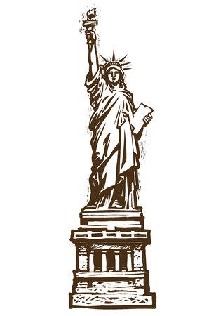 Die Freiheitsstatue. Gezeichnete Vektorillustration der Skizze Hand lokalisiert auf weißem Hintergrund. Gravurstil