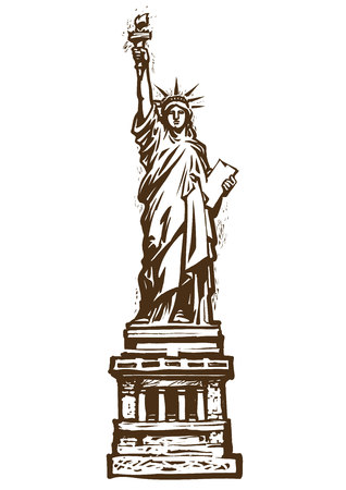 The Statue of Liberty. Sketch hand drawn vector illustration isolated on white background. Engraving style