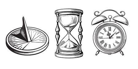 Set di diversi vecchi orologi. Meridiana, Clessidra, Sveglia. Illustrazione vettoriale di schizzo disegnato a mano in bianco e nero isolato su priorità bassa bianca.