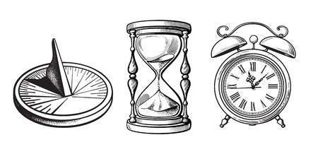 Set of different old clocks. Sundial, Hourglass, Alarm clock. Black and white hand drawn sketch vector illustration isolated on white background. 免版税图像 - 110297816