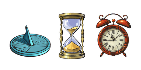 Set of different old clocks. Sundial, Hourglass, Alarm clock. Hand drawn vector illustration in vintage style isolated on white background. Vecteurs