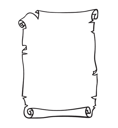 Parchemin, vieux rouleau de papier. Place pour le texte. Illustration vectorielle dessinés à la main en noir et blanc.