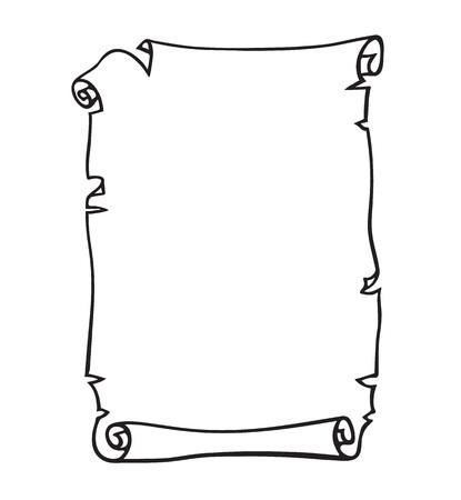 Pergamino, rollo de papel viejo. Lugar para el texto. Ilustración de vector dibujado a mano en blanco y negro.