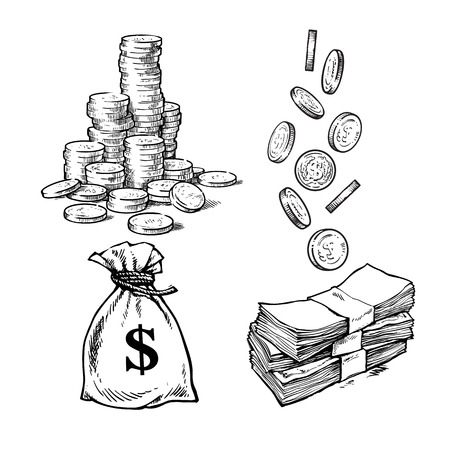 Finanzen, Geldsatz. Skizze des Stapels von Münzen, Papiergeld, Sack mit fallenden Dollarmünzen in verschiedenen Positionen. Schwarze und weiße handgezeichnete Vektorillustration. Vektorgrafik