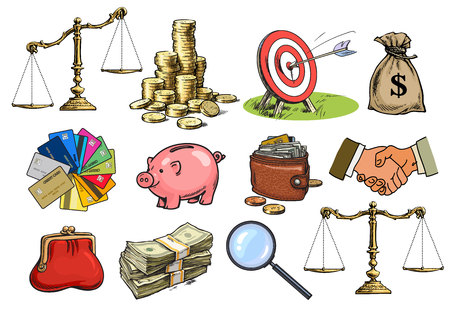 Cartoon business set. Scales, stack of coins, sack of dollars, credit cards, handshake, purse, wallet, piggy bank, target, arrow, magnifying glass Sketch vector illustration isolated on white