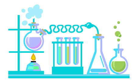 Chemical science lab equipment. Test tubes, flasks, spiritlam. Different shapes isolated on white background. Vector illustration.
