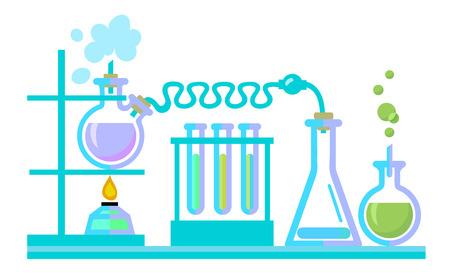 Chemical science lab equipment. Test tubes, flasks, spiritlam. Different shapes isolated on white background. Vector illustration. Ilustração Vetorial