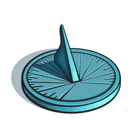 Sundial. Sun clock. Hand drawn vector illustration isolated on white background.