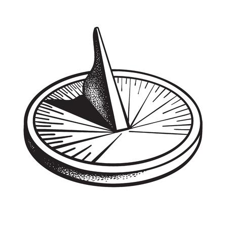 Meridiana. Orologio solare. Illustrazione di vettore disegnato a mano in bianco e nero.