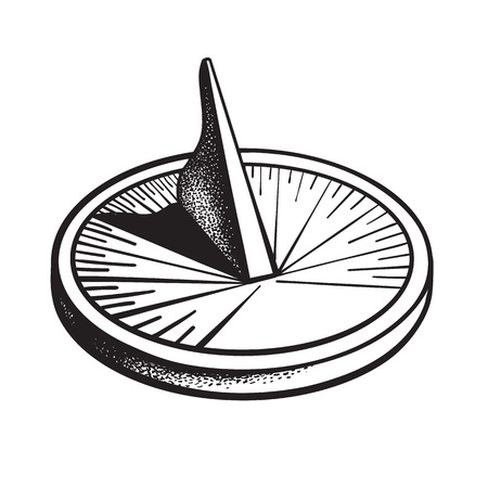 Sundial. Sun clock. Black and white hand drawn vector illustration.