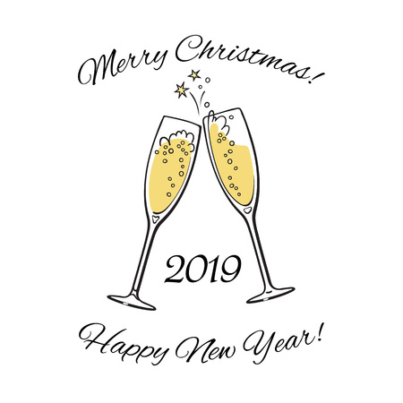 wo sparkling glasses of champagne. 2019 Merry Christmas and Happy New Year text. Hand drawn vector illustration. Stock Illustratie