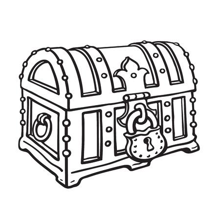Forziere del tesoro dei pirati chiuso a chiaveg. Illustrazione di vettore disegnato a mano di stile di schizzo isolato su priorità bassa bianca.