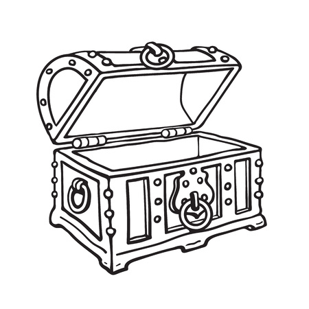 Empty pirate treasure chest. Open wooden trunk. Sketch style hand drawn isolated vector illustration. Stock Photo