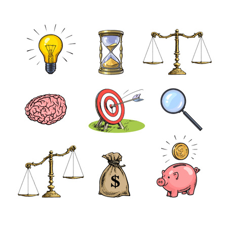 Business concepts set. Light bulb, hourglass, scales, brain, target, magnifying glass, sack of dollars, piggy bank. Hand drawn vector sketch.