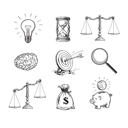 Business concepts set. Light bulb, hourglass, scales, brain, target, magnifying glass, sack of dollars, piggy bank. Black and white hand drawn vector.