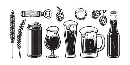 Vintage beer set. Barley, wheat, can, glass, mug, bottle, opener, hop, bottle cap. Vector illustration. Brewery, beer festival, bar, pub design.