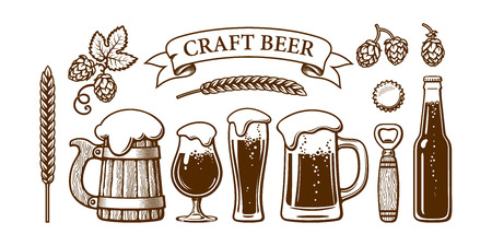 Vintage beer set. Old wooden mug, glasses, opener, barley, wheat, hop, bottle cap. Brewery, beer festival, bar, pub design. Hand drawn vector illustration isolated on white backgraund.