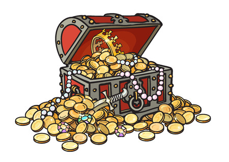 Old wooden chest full of golden coins and jewelry. Pirate treasure, diamonds, pearls, crown, dagger. Hand drawn cartoon vector illustration isolated on white background. Stock Photo