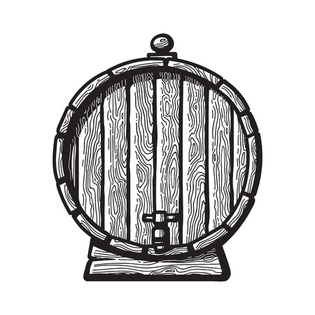 Old wooden barrel with a tap in engraving style. Black and white hand drawn vector illustrations. Front view of beer, wine, rum whiskey traditional barrel.